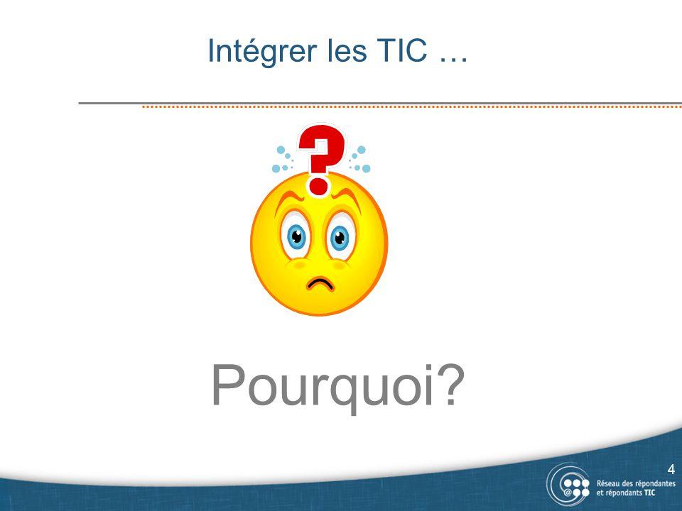Intégrer les TIC … Pourquoi