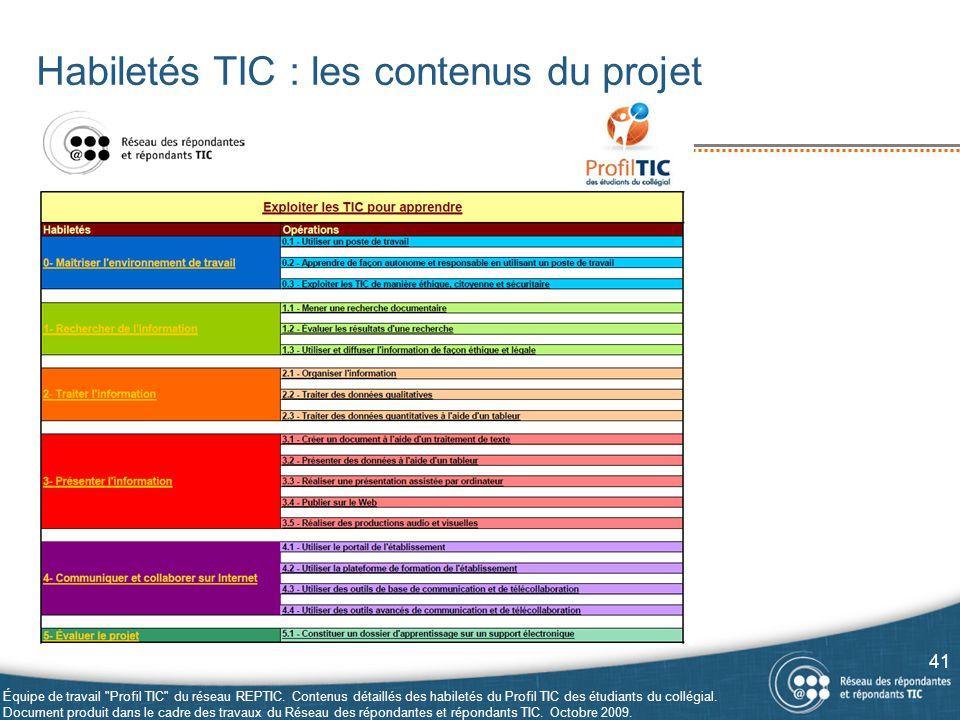 Habiletés TIC : les contenus du projet