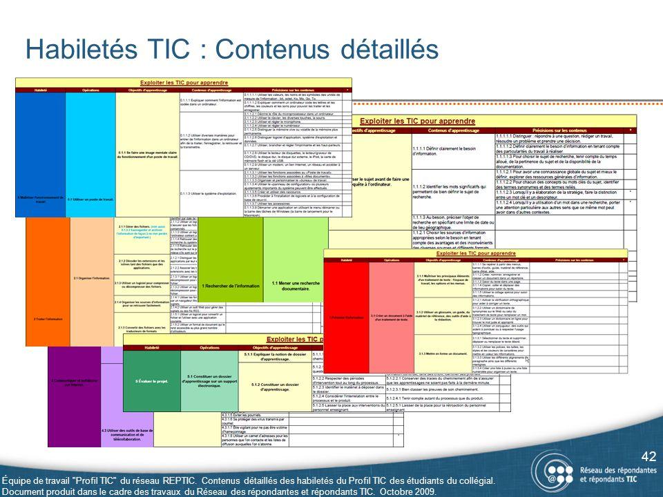 Habiletés TIC : Contenus détaillés