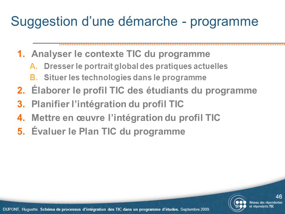 Suggestion d'une démarche - programme