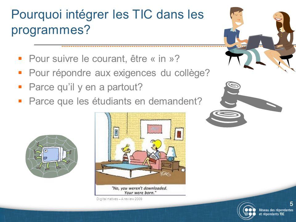 Pourquoi intégrer les TIC dans les programmes