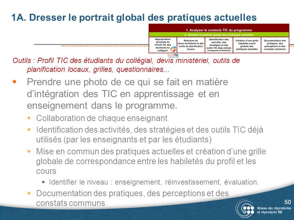 1A. Dresser le portrait global des pratiques actuelles