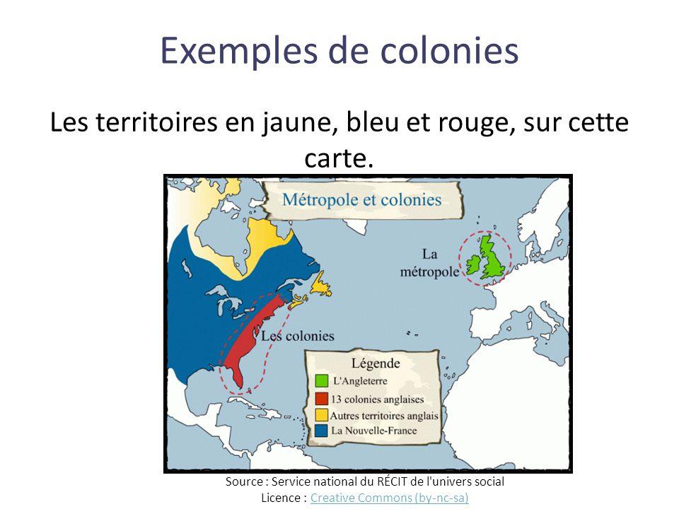 Les territoires en jaune, bleu et rouge, sur cette carte.