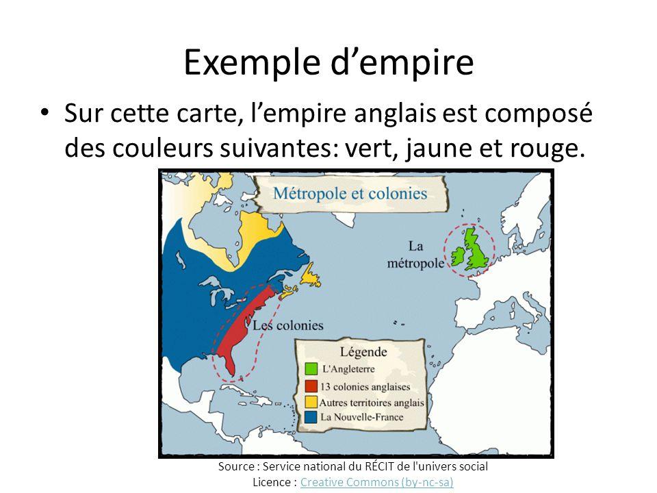 Exemple d'empire Sur cette carte, l'empire anglais est composé des couleurs suivantes: vert, jaune et rouge.