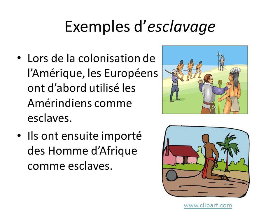 Exemples d'esclavage Lors de la colonisation de l'Amérique, les Européens ont d'abord utilisé les Amérindiens comme esclaves.