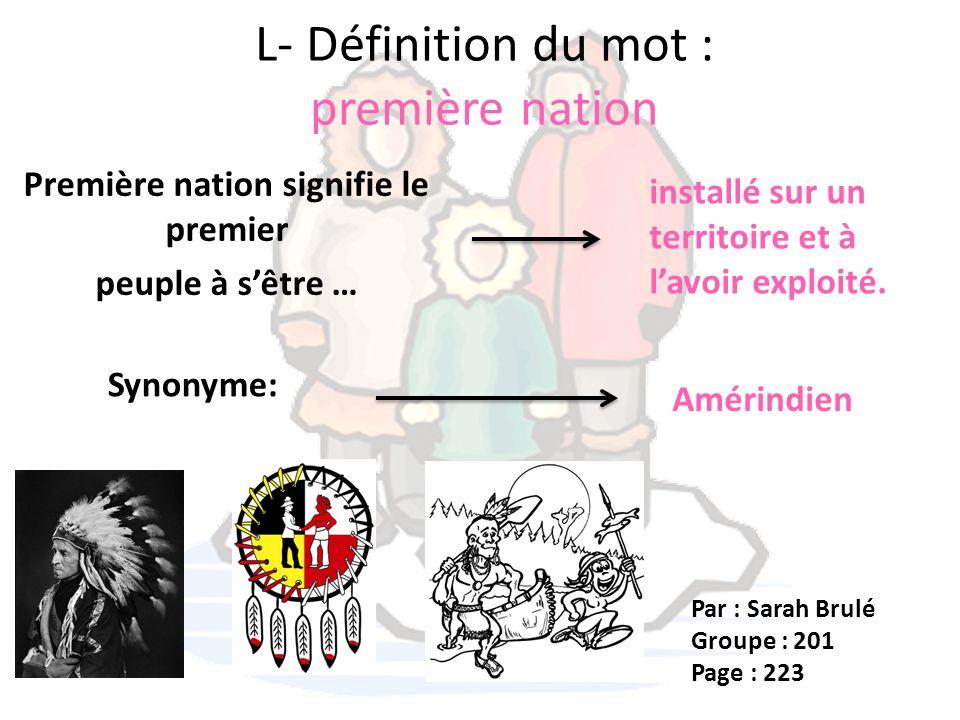 L- Définition du mot : première nation