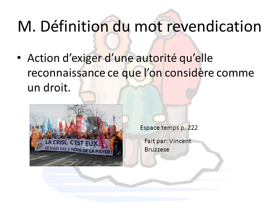 M. Définition du mot revendication