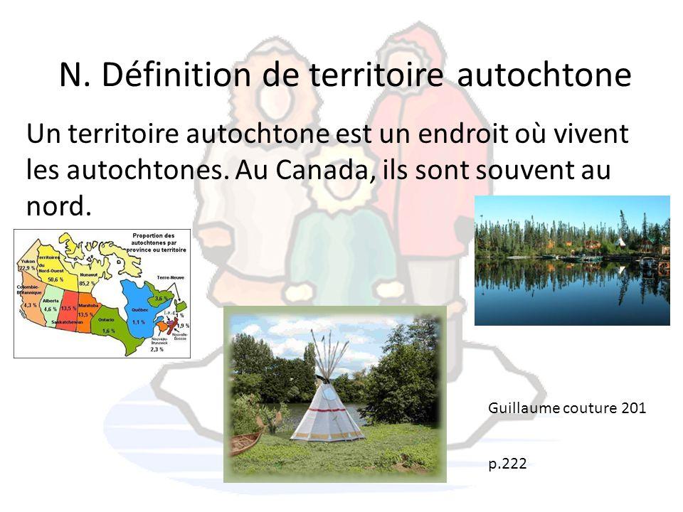 N. Définition de territoire autochtone