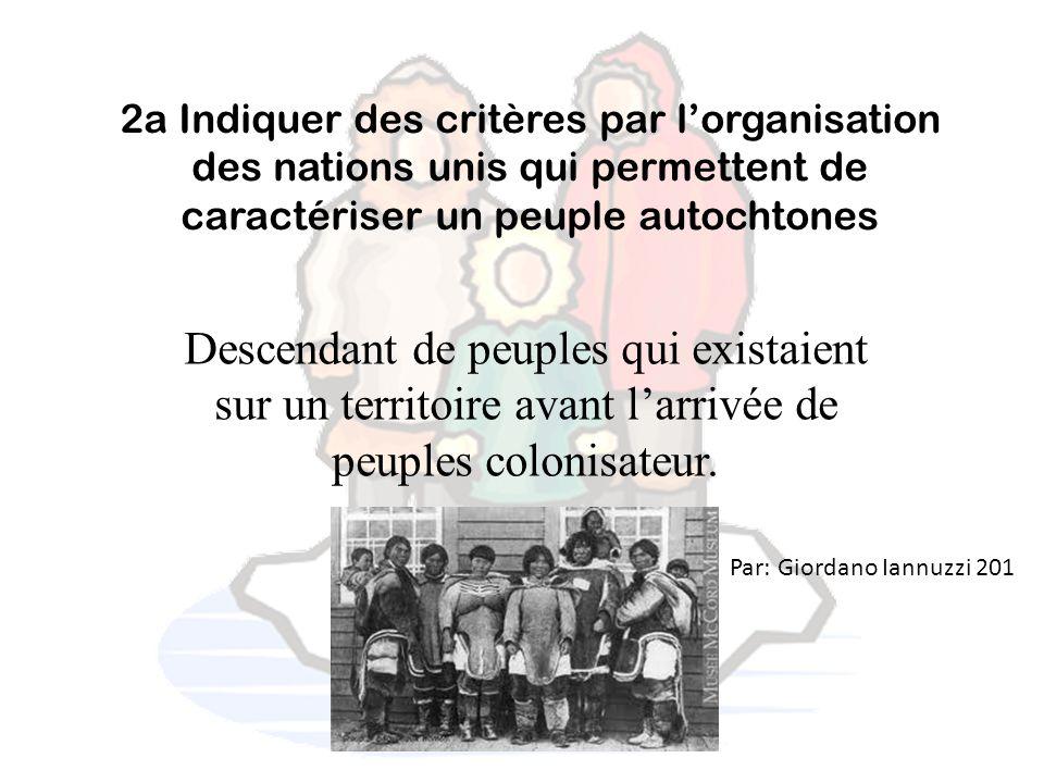 2a Indiquer des critères par l'organisation des nations unis qui permettent de caractériser un peuple autochtones