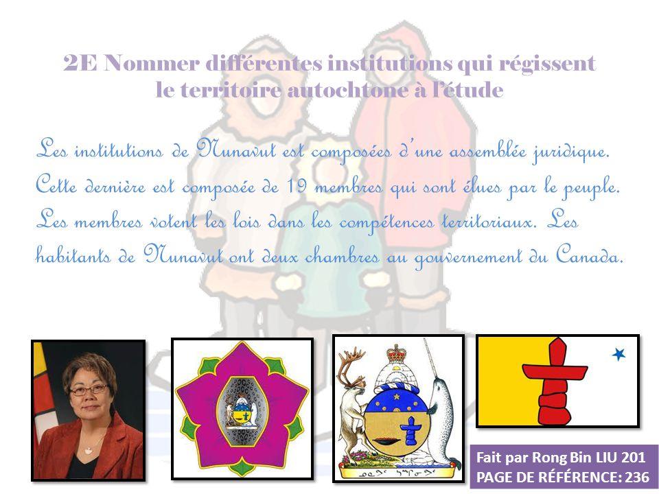 2E Nommer différentes institutions qui régissent le territoire autochtone à l'étude