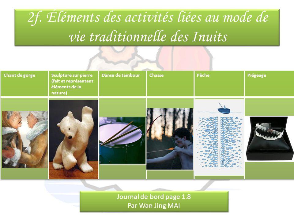 2f. Éléments des activités liées au mode de vie traditionnelle des Inuits