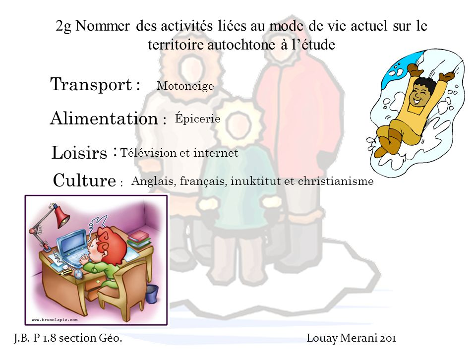 Transport : Alimentation : Loisirs : Culture :