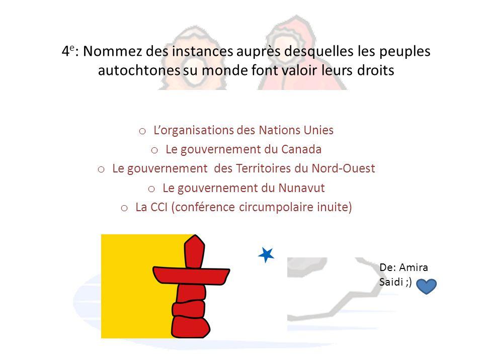 4e: Nommez des instances auprès desquelles les peuples autochtones su monde font valoir leurs droits