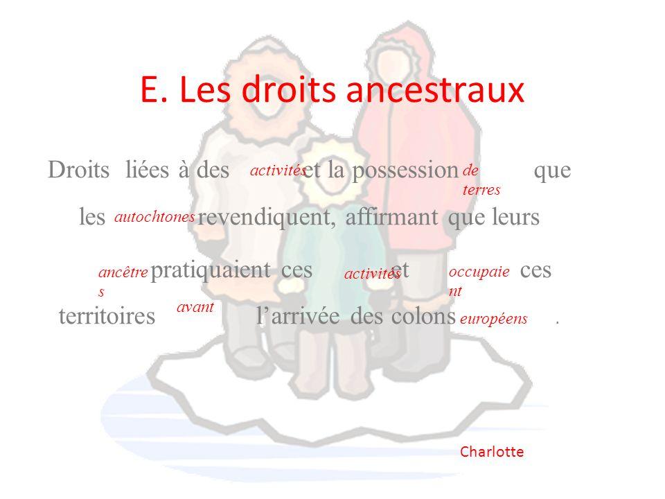 E. Les droits ancestraux