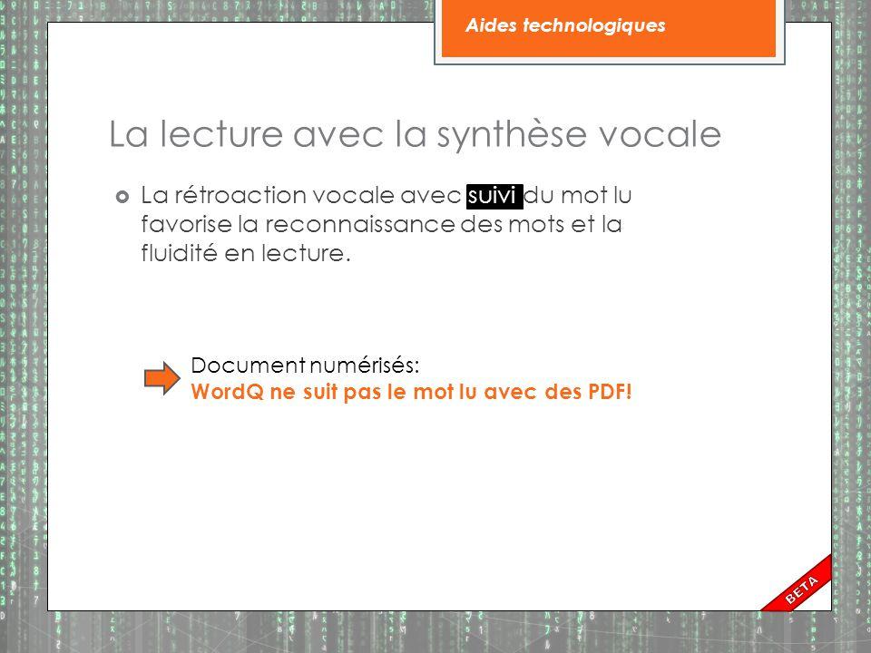 La lecture avec la synthèse vocale