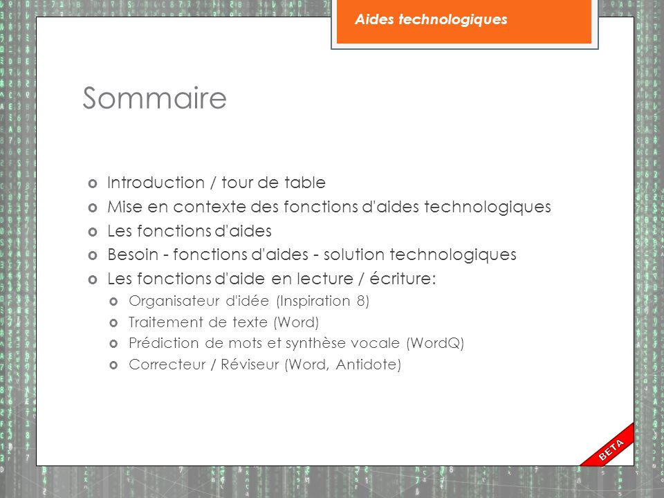 Sommaire Introduction / tour de table