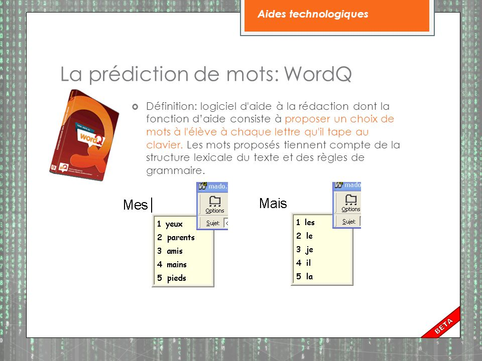 La prédiction de mots: WordQ