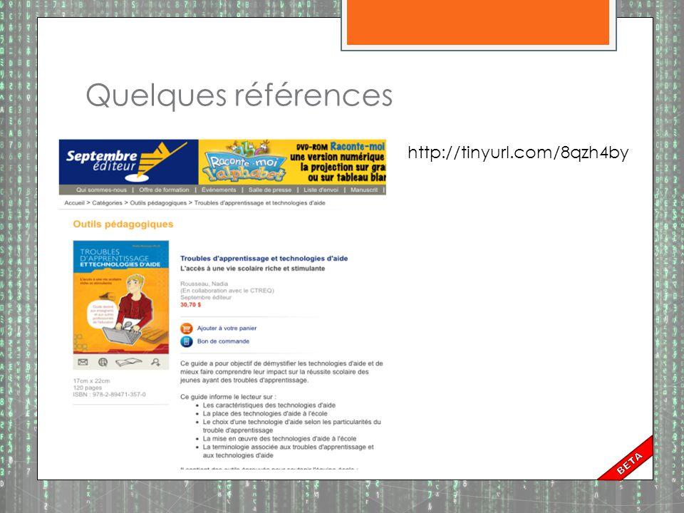 Quelques références http://tinyurl.com/8qzh4by