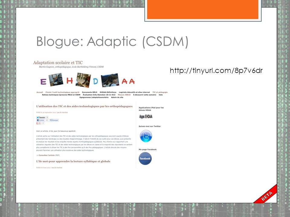 Blogue: Adaptic (CSDM)
