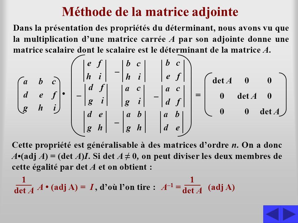 Méthode de la matrice adjointe