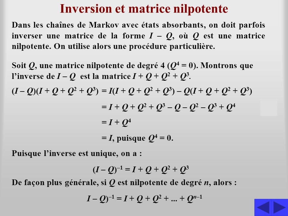 Inversion et matrice nilpotente