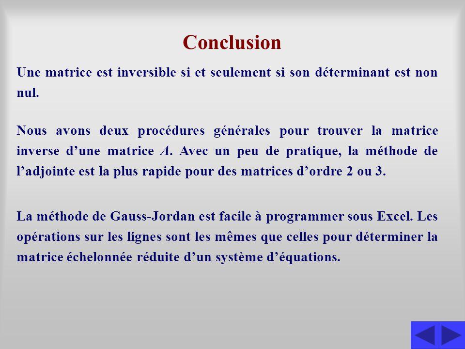 Conclusion Une matrice est inversible si et seulement si son déterminant est non nul.