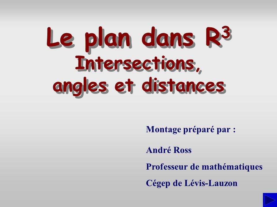 Le plan dans R3 Intersections, angles et distances