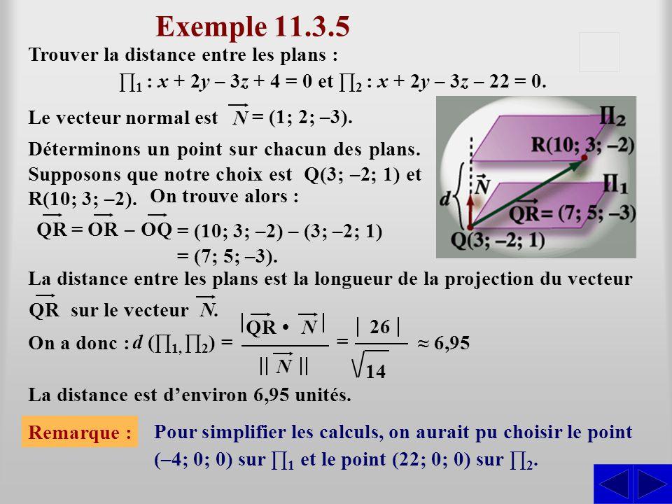 ∏1 : x + 2y – 3z + 4 = 0 et ∏2 : x + 2y – 3z – 22 = 0.