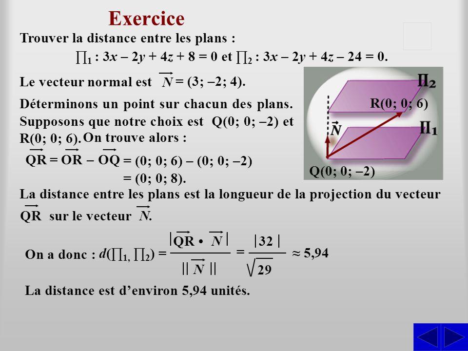 ∏1 : 3x – 2y + 4z + 8 = 0 et ∏2 : 3x – 2y + 4z – 24 = 0.