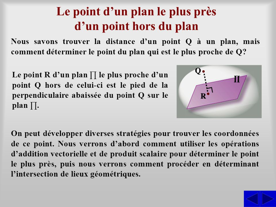 Le point d'un plan le plus près d'un point hors du plan