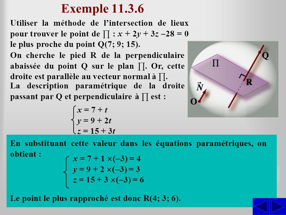 Exemple 11.3.6 Utiliser la méthode de l'intersection de lieux pour trouver le point de ∏ : x + 2y + 3z –28 = 0 le plus proche du point Q(7; 9; 15).