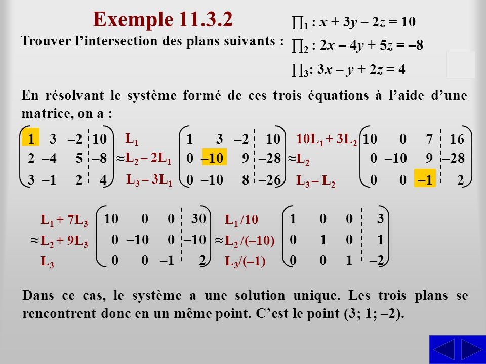 Exemple 11.3.2 ∏1 : x + 3y – 2z = 10. Trouver l'intersection des plans suivants : ∏2 : 2x – 4y + 5z = –8.