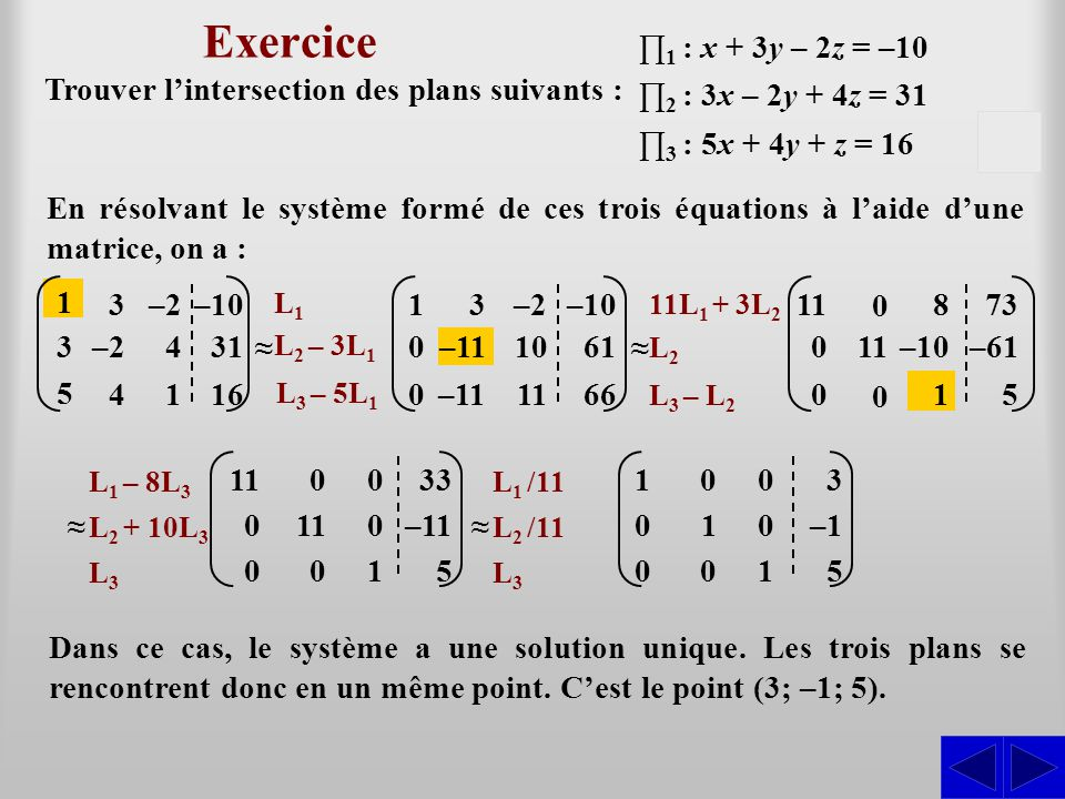 Exercice ∏1 : x + 3y – 2z = –10. Trouver l'intersection des plans suivants : ∏2 : 3x – 2y + 4z = 31.