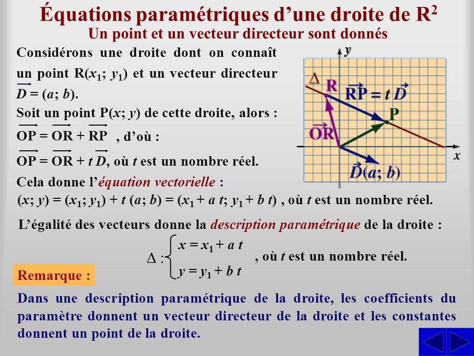 Équations paramétriques d'une droite de R2