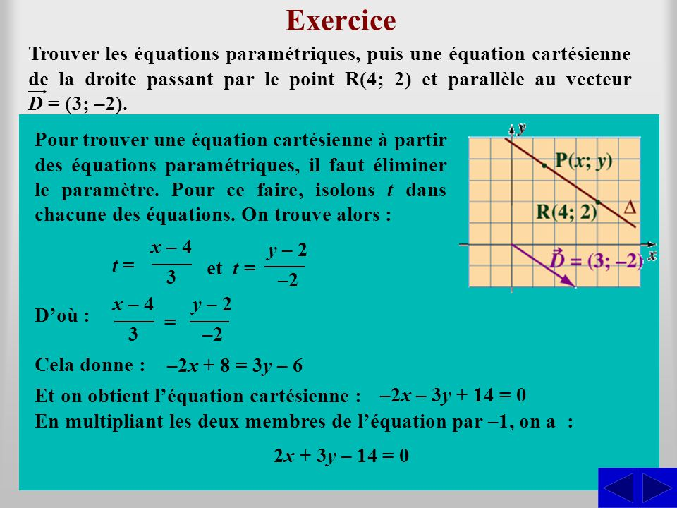 (x; y) = (4; 2) + t (3; –2) = (4 + 3 t; 2 – 2t)