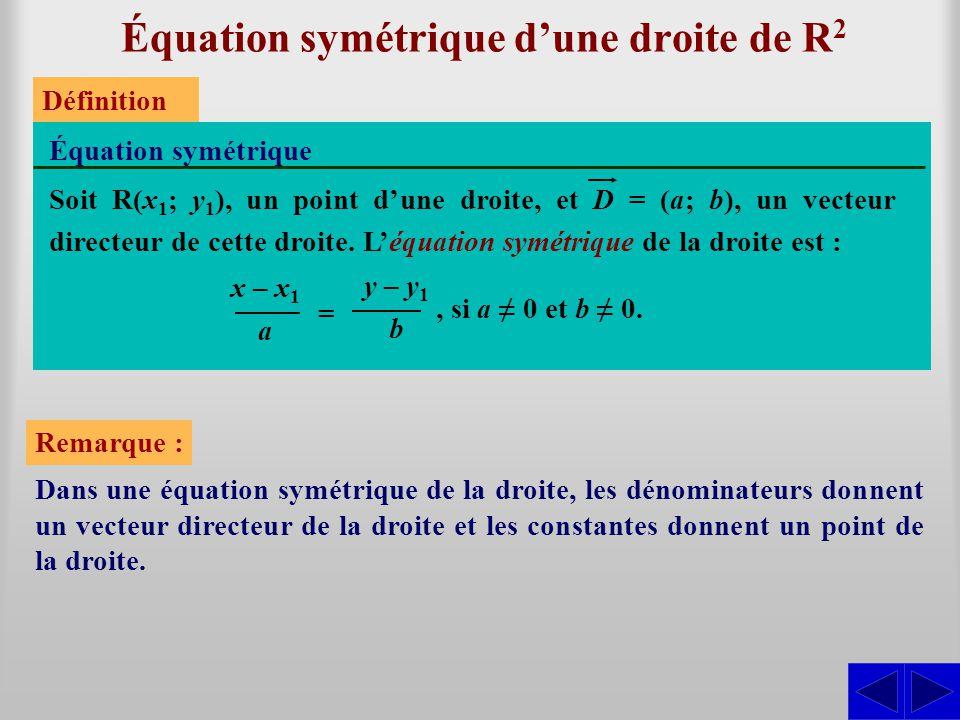 Équation symétrique d'une droite de R2