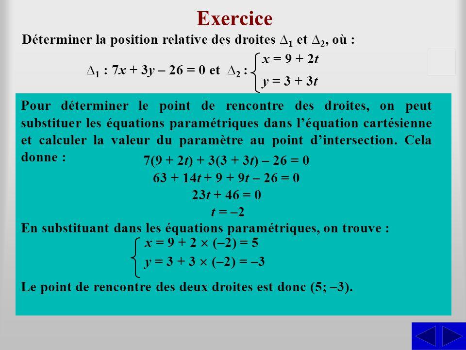 Exercice Déterminer la position relative des droites ∆1 et ∆2, où : x = 9 + 2t. y = 3 + 3t. S. S.