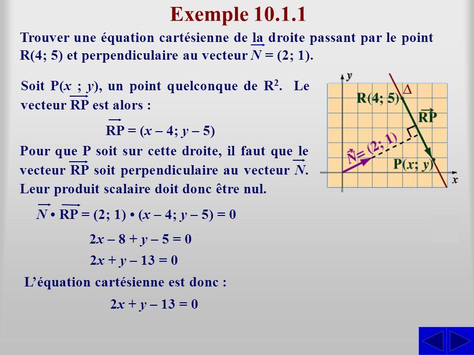 Exemple 10.1.1 Trouver une équation cartésienne de la droite passant par le point R(4; 5) et perpendiculaire au vecteur N = (2; 1).