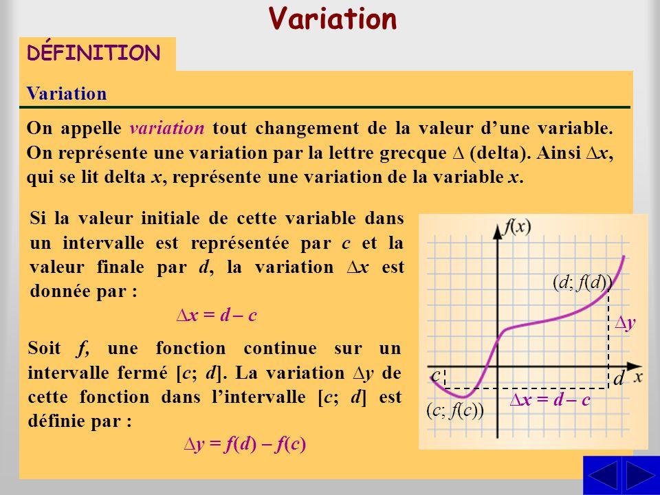 Variation c d DÉFINITION Variation