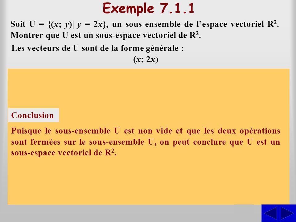 Exemple 7.1.1 Soit U = {(x; y)| y = 2x}, un sous-ensemble de l'espace vectoriel R2. Montrer que U est un sous-espace vectoriel de R2.