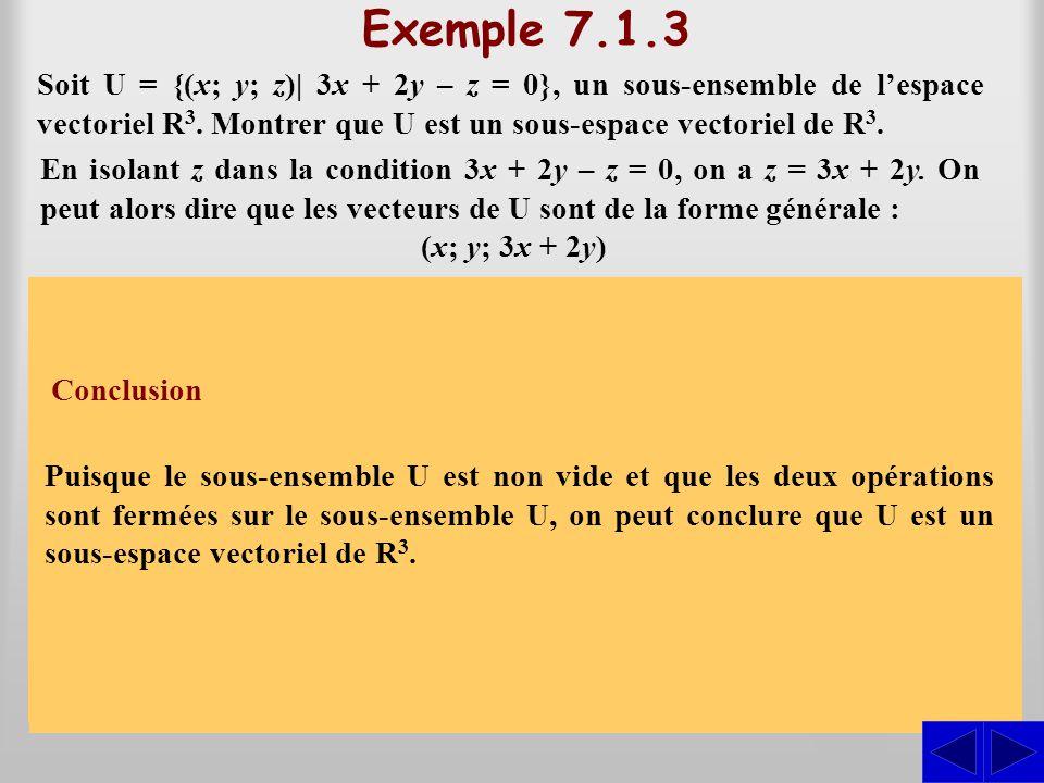 Exemple 7.1.3 Soit U = {(x; y; z)| 3x + 2y – z = 0}, un sous-ensemble de l'espace vectoriel R3. Montrer que U est un sous-espace vectoriel de R3.