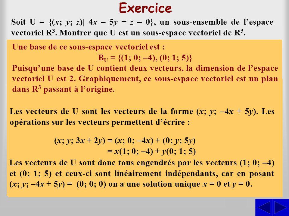 Exercice Soit U = {(x; y; z)| 4x – 5y + z = 0}, un sous-ensemble de l'espace vectoriel R3. Montrer que U est un sous-espace vectoriel de R3.