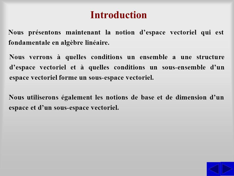 Introduction Nous présentons maintenant la notion d'espace vectoriel qui est fondamentale en algèbre linéaire.