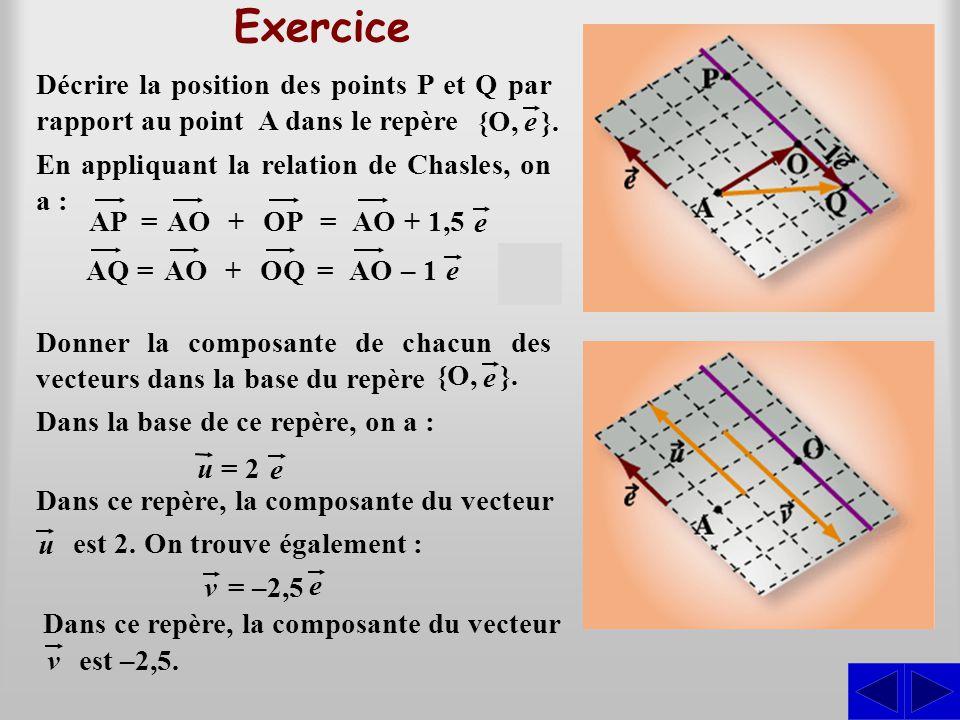 Exercice Décrire la position des points P et Q par rapport au point A dans le repère. {O, }. e.