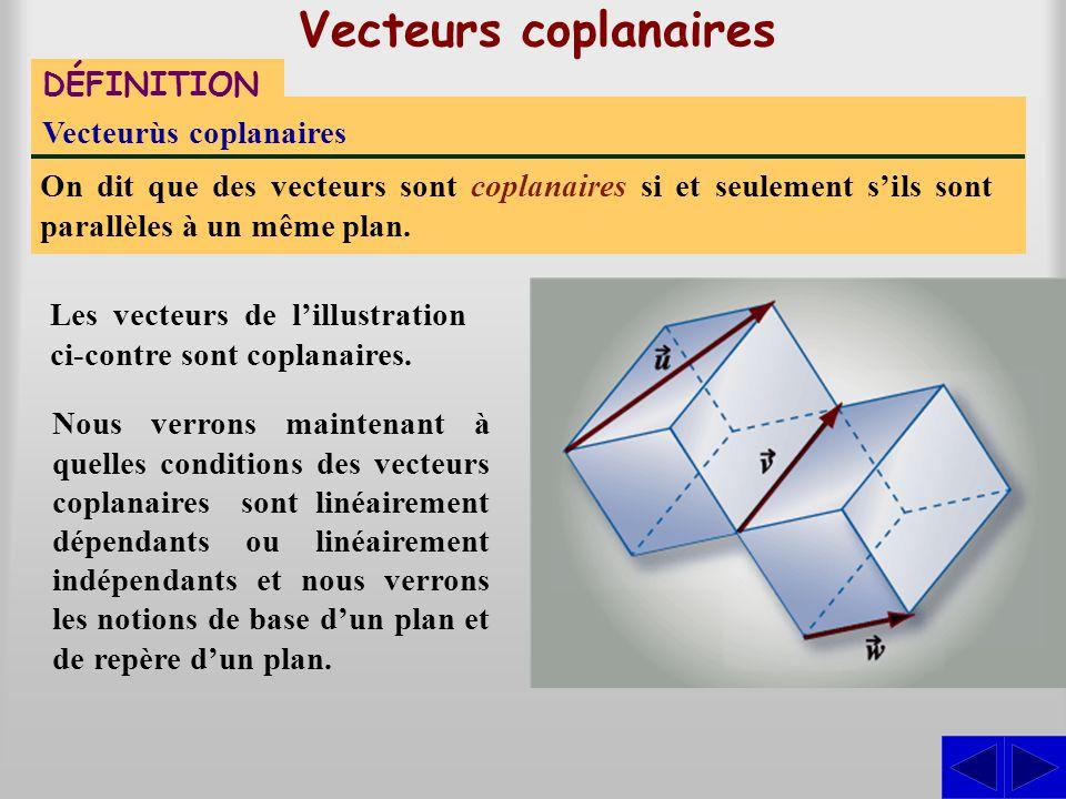Vecteurs coplanaires DÉFINITION Vecteurùs coplanaires
