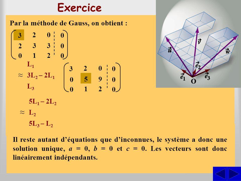 Exercice ≈ ≈ S S S Exprimer les vecteurs dans la base du repère }. e1