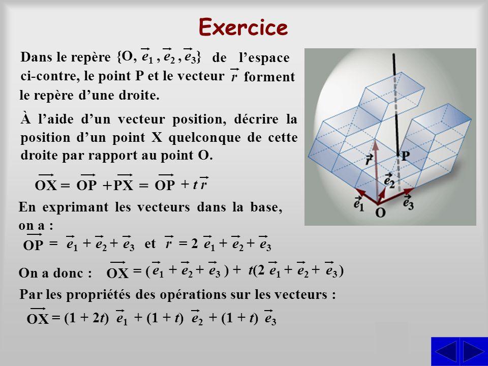 Exercice = + S Dans le repère } e1 e2 , e3 {O,