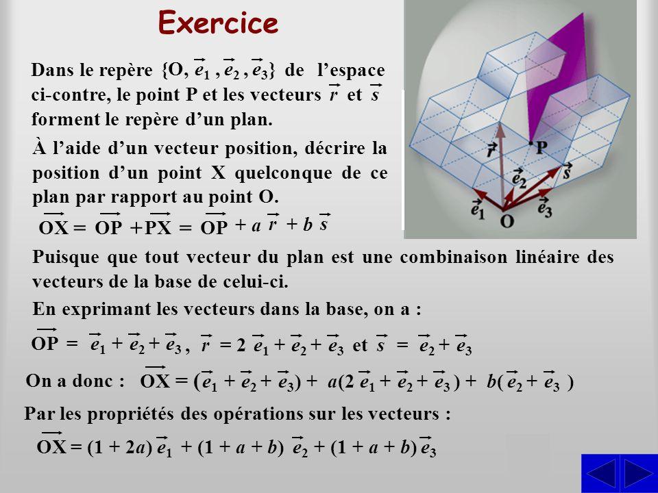 Exercice = + = ( S Dans le repère } e1 e2 , e3 {O,