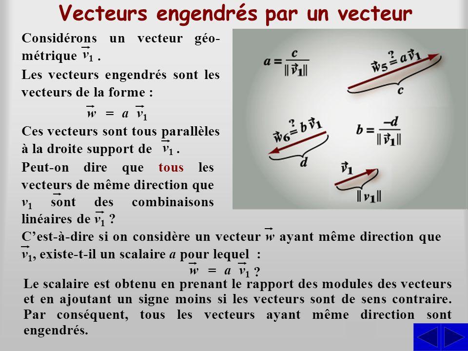 Vecteurs engendrés par un vecteur