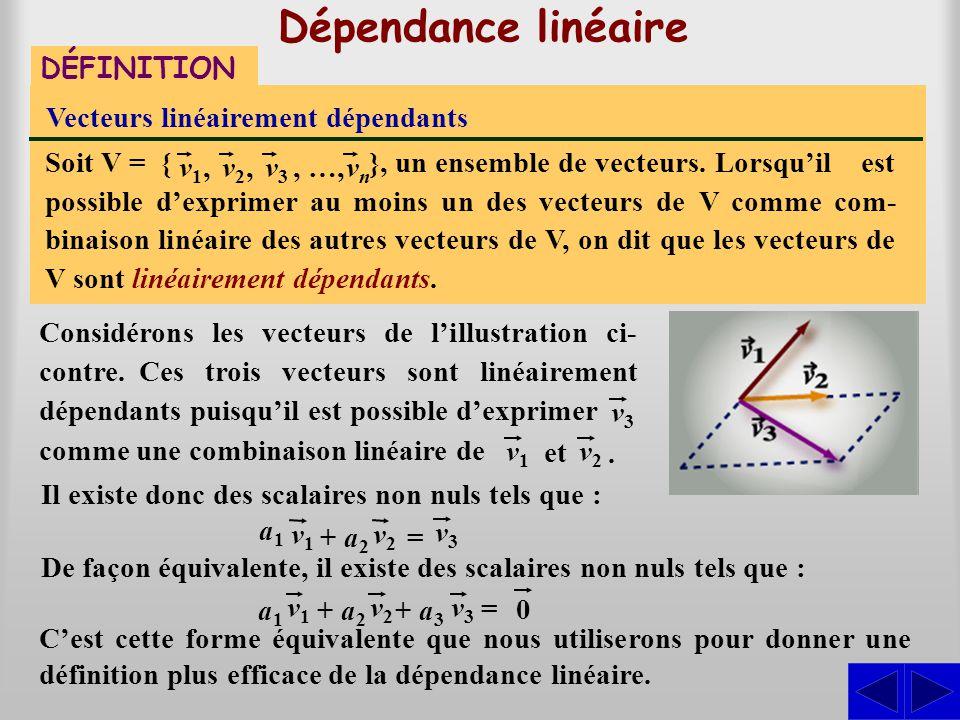 Dépendance linéaire DÉFINITION Vecteurs linéairement dépendants